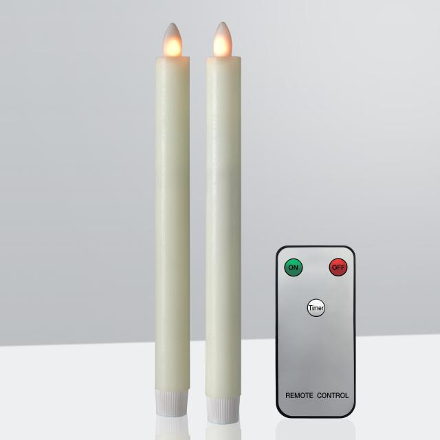 Sompex Shine LED set of 2 real wax candlesticks with timer and remote control