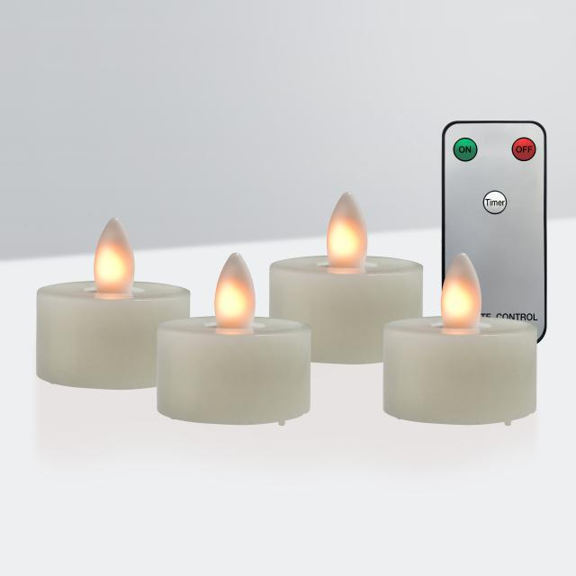 Sompex Shine LED set of 4 real wax tealights with timer and remote control