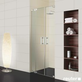 Sprinz Achat R Plus two-way swing doors with fixed panel in recess TSG light crystal / chrome