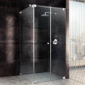 Sprinz Omega two-way swing doors with side panel TSG light crystal with SpriClean / chrome