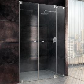 Sprinz Omega two-way swing doors with fixed panel in recess TSG light crystal with SpriClean / chrome