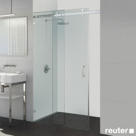 Sprinz Opalin S sliding door with fixed panel in recess TSG light crystal with SpriClean / chrome