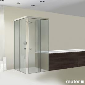 Sprinz Tansa corner entry sliding doors with fixed panels and short side panel TSG light crystal / matt silver