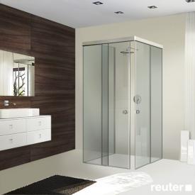 Sprinz Tansa corner entry sliding doors with fixed panels and side panel TSG light crystal / matt silver