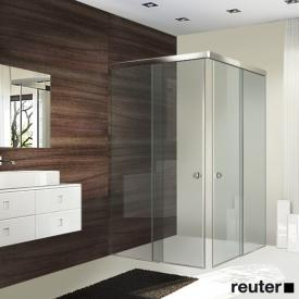 Sprinz Tansa corner entry sliding doors with fixed panels TSG light crystal with SpriClean / silver high gloss