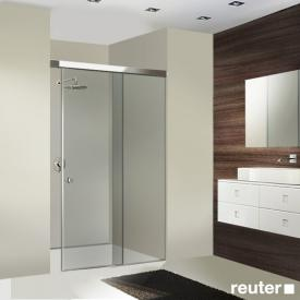 Sprinz Tansa sliding door with fixed panel in recess TSG light crystal with SpriClean / silver high gloss
