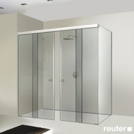 Sprinz Tansa sliding doors with fixed panels and side panel TSG light crystal / matt silver