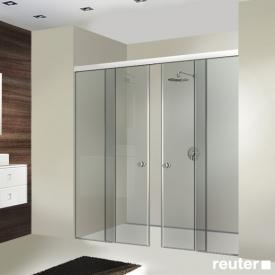 Sprinz Tansa sliding doors with fixed panels in recess TSG light crystal / matt silver