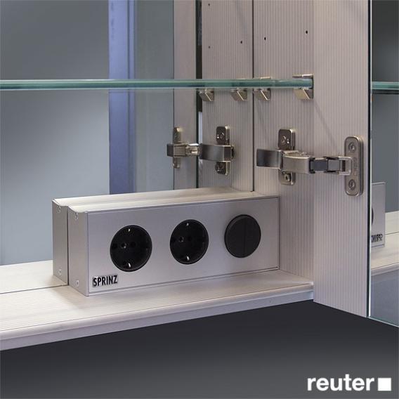 Sprinz Classical-Line recessed mirror cabinet fully illuminated corpus: matt aluminium / rear panel: mirrored