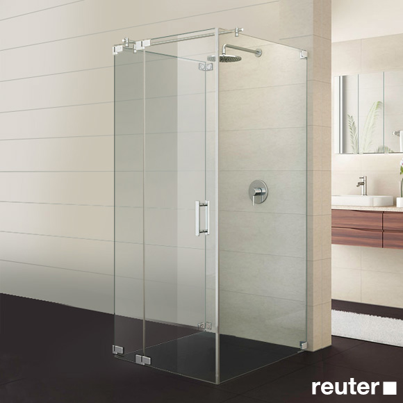 Sprinz Achat R Plus one-way swing door with fixed panel and 2 side panels TSG light crystal / chrome