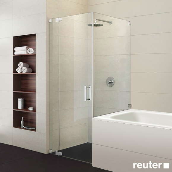 Sprinz Achat R Plus one-way swing door with fixed panel and short side panel TSG light crystal / chrome