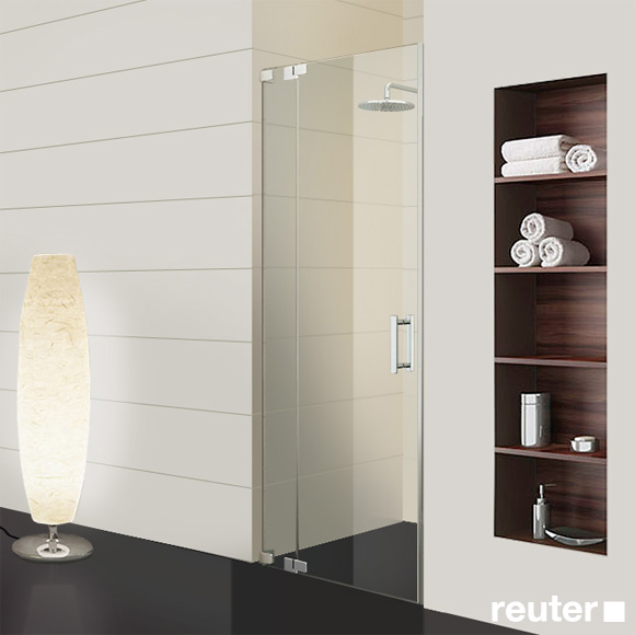 Sprinz Achat R Plus one-way swing door with fixed panel in recess TSG light crystal / chrome