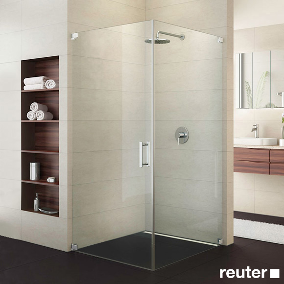 Sprinz Achat R Plus one-way swing door with side panel TSG light crystal with SpriClean / chrome