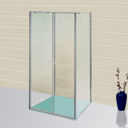 Sprinz Sprinter Plus one-way swing doors with 2 side panels TSG light crystal with SpriClean / silver high gloss, STIM 88.3-90 cm