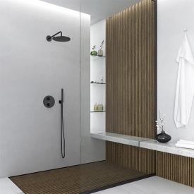"Steinberg Sensual Rain ""Rain Shower"" overhead rain shower Ø 250 mm, with wall arm projection 450 mm matt black"