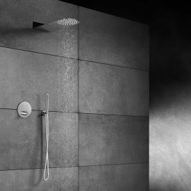 "Steinberg Sensual Rain shower system with ""Wall Rain"" overhead shower and thermostat, round"