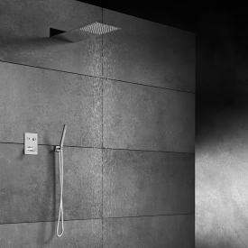 "Steinberg Sensual Rain shower system with ""Wall Rain"" overhead shower and thermostat, square"