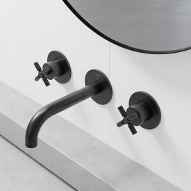 Steinberg Series 250 wall-mounted, three hole basin mixer matt black, projection: 195 mm