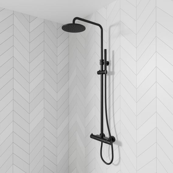 Steinberg Series 100 / 170 shower set complete with thermostatic mixer matt black
