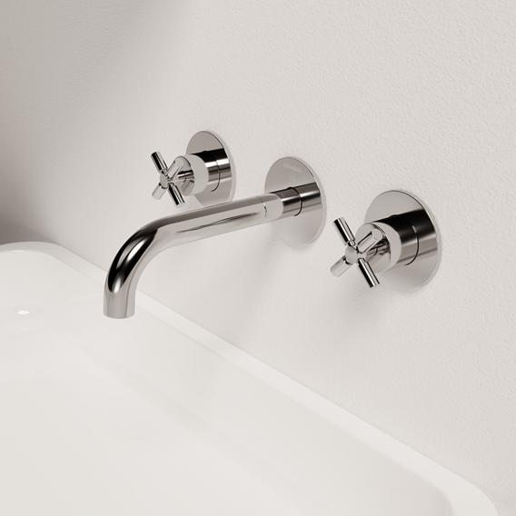 Steinberg Series 250 wall-mounted, three hole basin mixer chrome, projection: 195 mm