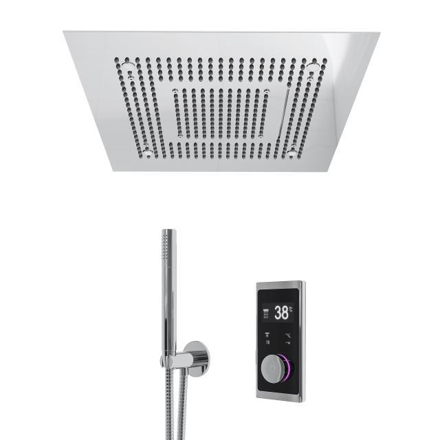 "Steinberg Sensual Rain ""iFlow"" shower system with Sensual Rain ""Wall Rain"" rain panel, square polished stainless steel/chrome, with lighting"