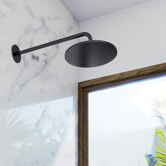 "Steinberg Sensual Rain ""Rain Shower"" overhead rain shower Ø 250 mm, with wall arm projection 450 mm matt black"