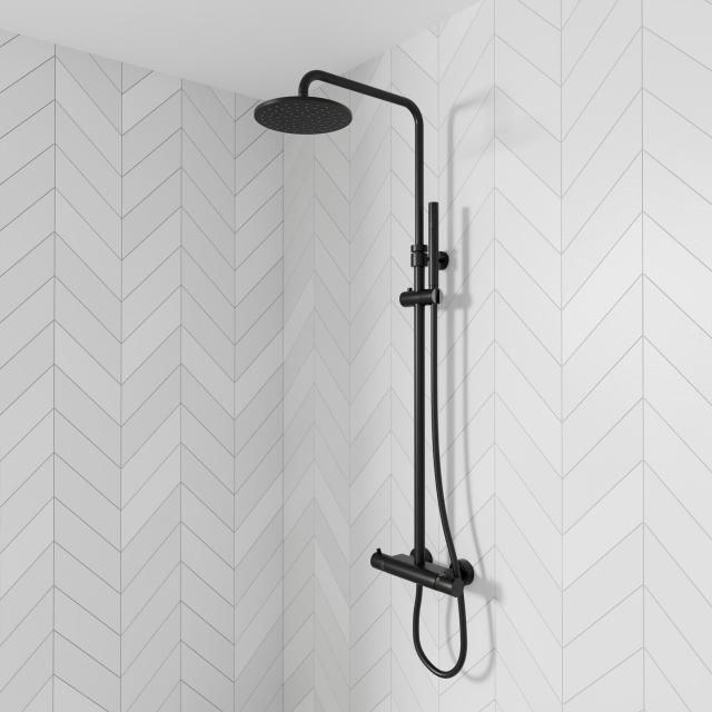Steinberg Series 100 / 170 shower set complete with thermostatic mixer matt black
