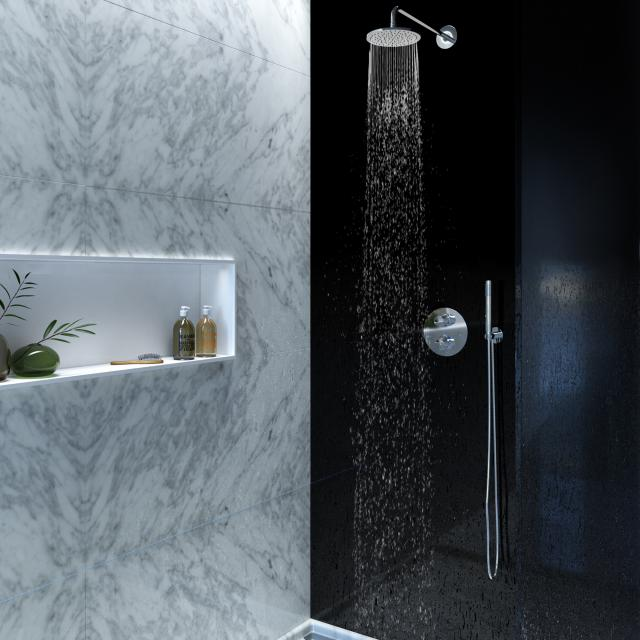 Steinberg Series 100 shower set with concealed thermostat and overhead shower