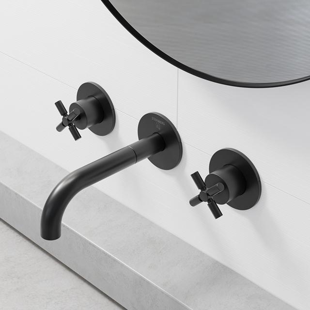 Steinberg Series 250 wall-mounted, three hole basin mixer matt black, projection: 195 mm