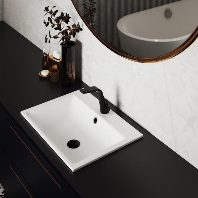 Steinberg Series 260 single lever basin mixer matt black, with pop-up waste set