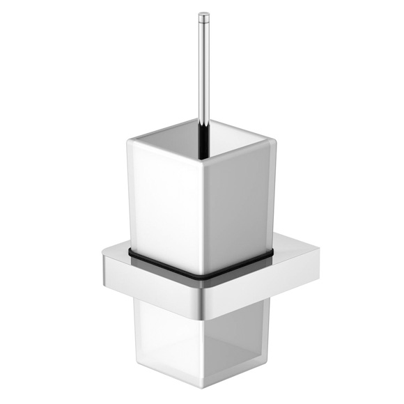 Steinberg Series 420 wall-mounted toilet brush set satin white