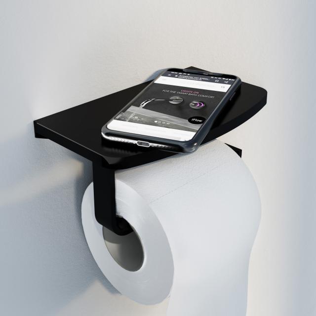 Steinberg Series 450 toilet roll holder with shelf matt black