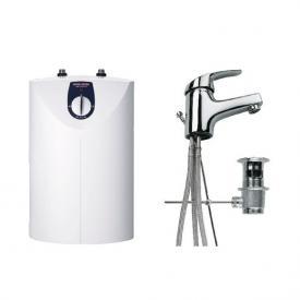Stiebel Eltron small water heater SNU 5 SL + MAE-W, 5 litre w. basin mixer, open vented