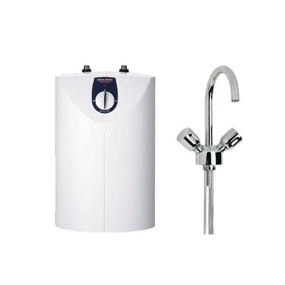 Stiebel Eltron small water heater SNU 5 SL + WST-W, 5 litre w. basin mixer, open vented