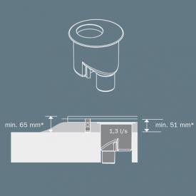 TECE drainline drain, DN 50 vertical drainage outlet, 1.3 l/s
