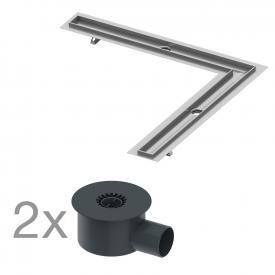 TECE drainline shower channel set, angled version 2 x horizontal outlet DN 70, 72 l/min