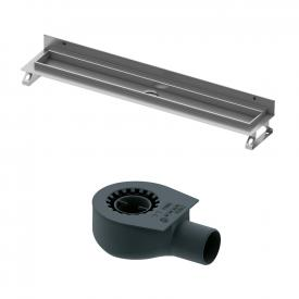 TECE drainline shower channel set, with wall upstand, straight horizontal outlet DN 50, 42 l/min