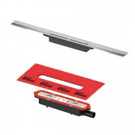 TECEdrainprofile shower channel set brushed stainless steel, L: 120 cm