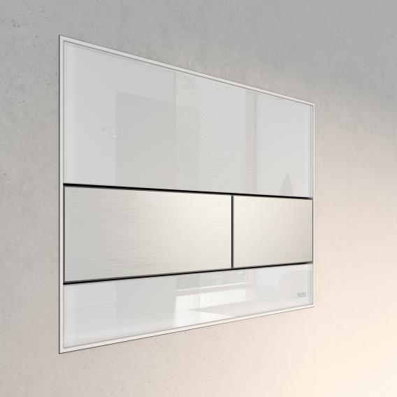 TECE square glass toilet flush plate for dual flush system white/brushed stainless steel