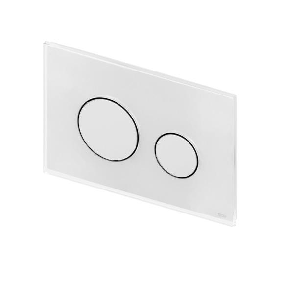 TECE loop glass toilet flush plates for dual flush system white