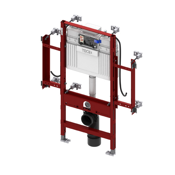TECE profil wall-mounted toilet geronto module w. TECE cistern, H:112 cm, front actuation
