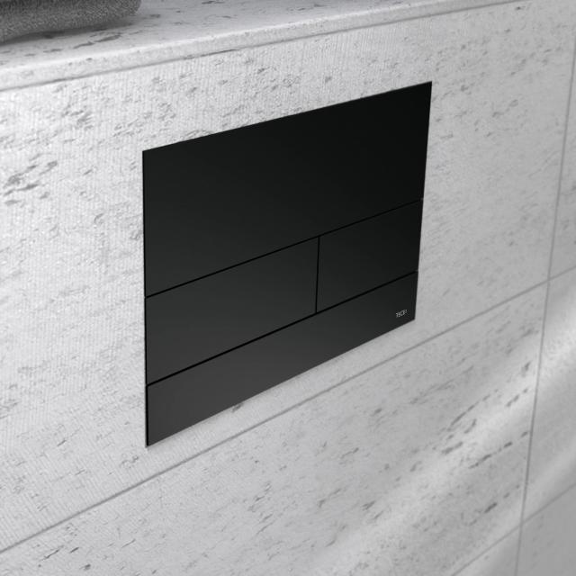 TECE square II metal toilet flush plate for dual flush technology matt black