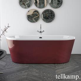 Tellkamp Easy Baignoire balnéo ovale en îlot blanc brillant, tablier rouge brillant