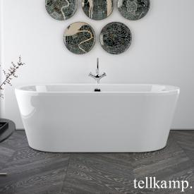 Tellkamp Easy Baignoire ovale en îlot blanc brillant, tablier blanc brillant, sans fonction de remplissage
