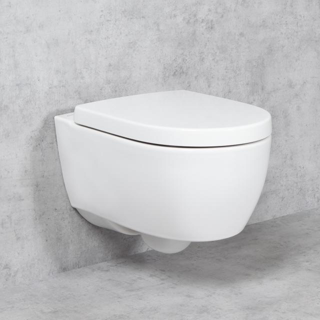 Geberit iCon & Tellkamp Premium 1000 wall-mounted toilet set: rimless toilet, with KeraTect, toilet seat with soft-close
