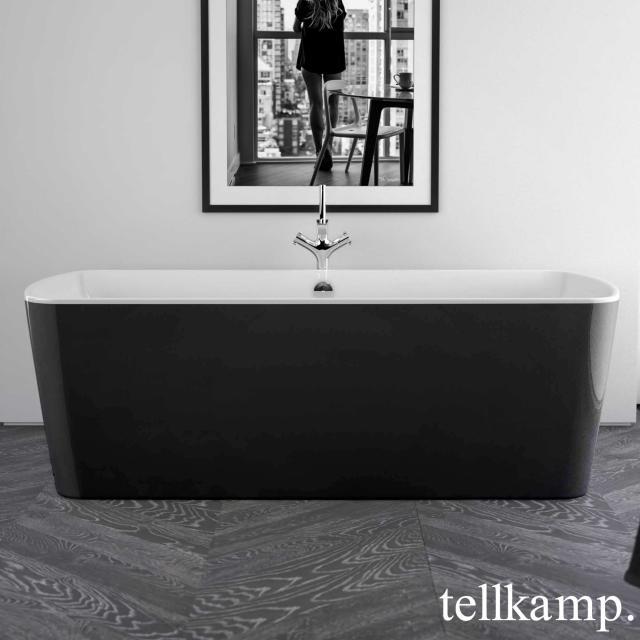 Tellkamp Komod freestanding rectangular whirlbath white gloss, panel black gloss
