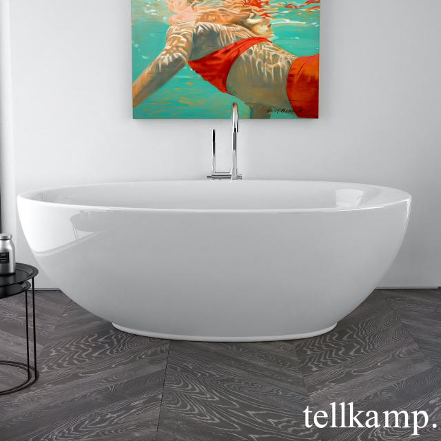 Tellkamp Neon freestanding oval bath white gloss, panel white gloss, without filling function