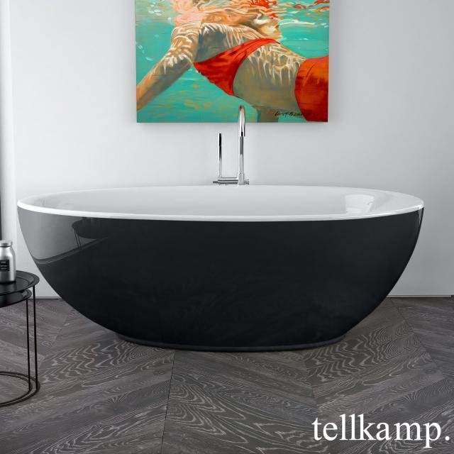 Tellkamp Neon freestanding, oval whirl bath white gloss, panel black gloss