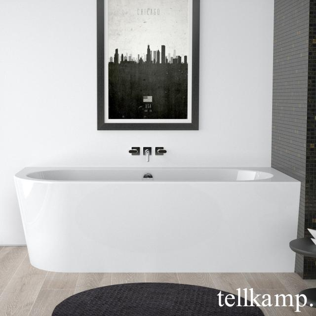 Tellkamp Pio corner whirlbath with panelling white gloss, panel white gloss, with water inlet