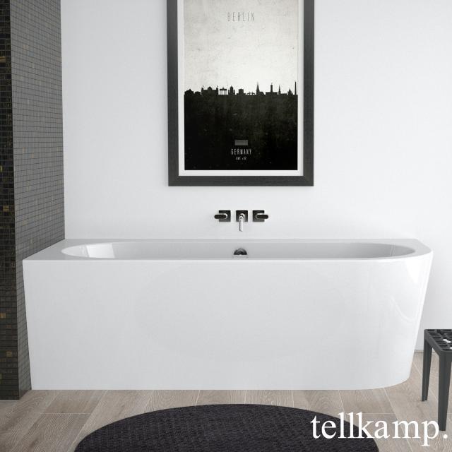 Tellkamp Pio corner bath with panelling white gloss, panel white gloss, with water inlet